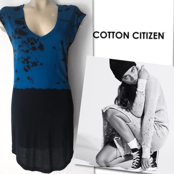 Cotton Citizen Dresses & Skirts - 🆕 COTTON CITIZEN BLUE TIE DYE V-NECK DRESS SZ S
